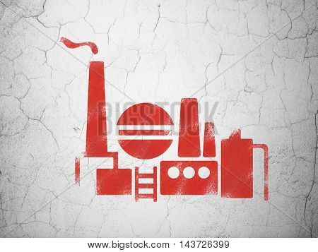 Manufacuring concept: Red Oil And Gas Indusry on textured concrete wall background