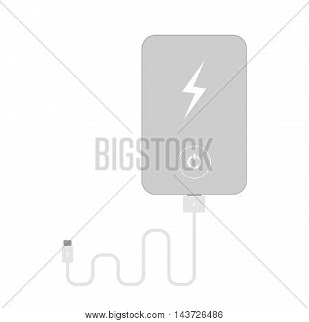Isolated silver powerbank on white background. Portable device for recharge.