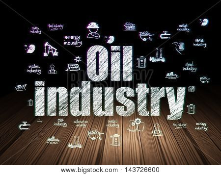 Manufacuring concept: Glowing text Oil Industry,  Hand Drawn Industry Icons in grunge dark room with Wooden Floor, black background