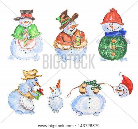 Watercolor snowmen set. Cute funny snowmen set for new year and christmas decoration. Isolated cartoon character.