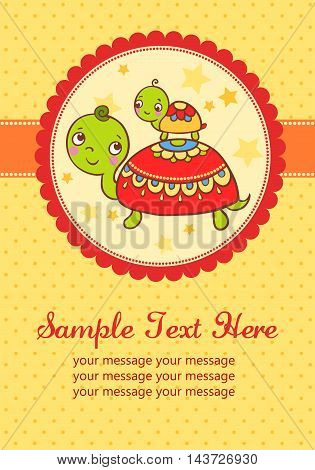 Vector illustration of turtles in an oval frame and place for your text.