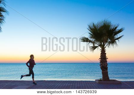 Young Woman jogging on Seafront making Morning Fitness Tropical Palm Tree colorful Dawn blue Sea. Focus on Palm Tree and paved path, jogger body slightly blurred in move