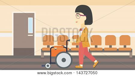 An asian young woman pushing empty wheelchair on the background of hospital corridor. Vector flat design illustration. Horizontal layout.