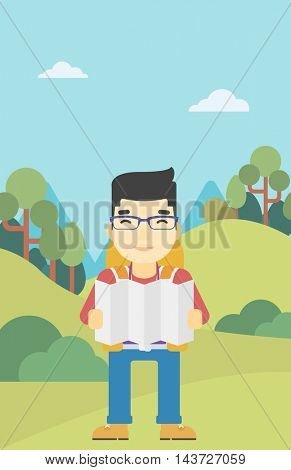 Traveler with backpack looking at map. An asian man travelling in mountains. Traveler searching right direction on map. Vector flat design illustration. Vertical layout.