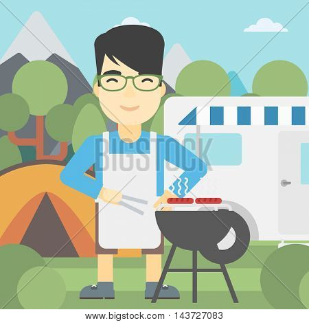 An asian man cooking meat on barbecue on the background of camper van. Man travelling by camper van and having barbecue party. Vector flat design illustration. Square layout.