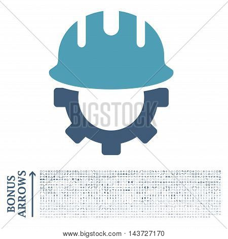Development Hardhat icon with 1200 bonus arrow and direction pictograms. Vector illustration style is flat iconic bicolor symbols, cyan and blue colors, white background.