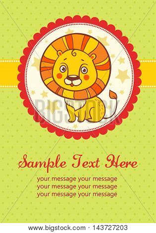 Vector illustration of a lion in a round frame. Perfect for invitations for birthdays and other holidays.
