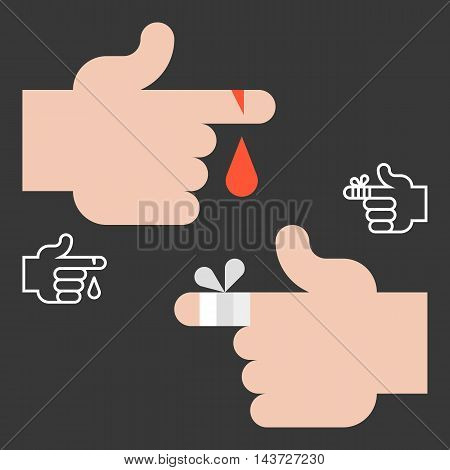 Vector first aid and accident icons,hurts finger and hand, flat design