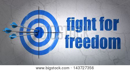 Success political concept: arrows hitting the center of target, Blue Fight For Freedom on wall background, 3D rendering