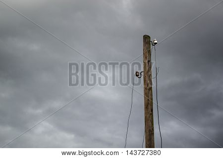 High voltage pillars on the background of cloudy sky