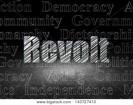 Political concept: Glowing text Revolt in grunge dark room with Dirty Floor, black background with  Tag Cloud