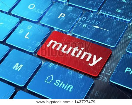 Politics concept: computer keyboard with word Mutiny on enter button background, 3D rendering
