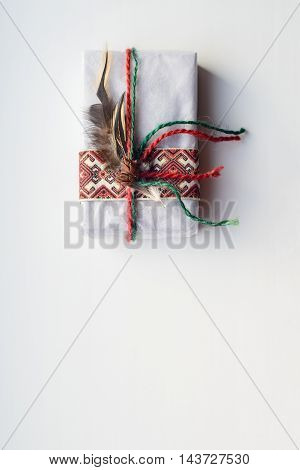 top view of gift on white background