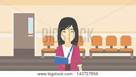 An injured asian woman with broken right arm in brace standing in the hospital corridor. Smiling woman wearing an arm brace. Vector flat design illustration. Horizontal layout.