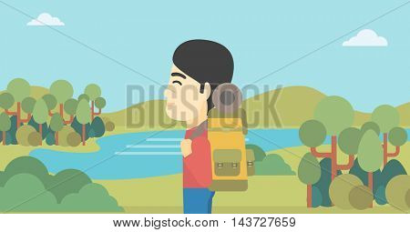 An asian man with backpack enjoying the view of landscape with mountains and lake. Vector flat design illustration. Horizontal layout.