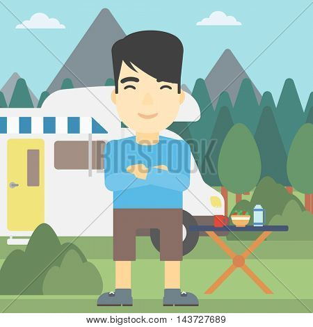 An asian man standing in front of motor home. Young man with arms crossed enjoying vacation in camper van. Vector flat design illustration. Square layout.