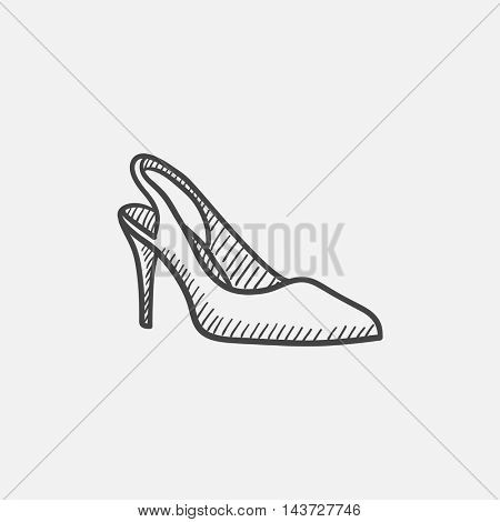 High heel shoe sketch icon set for web, mobile and infographics. Hand drawn vector isolated icon.