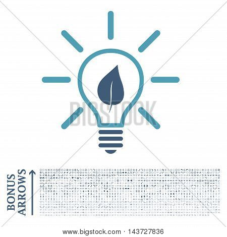 Eco Light Bulb icon with 1200 bonus arrow and navigation pictograms. Vector illustration style is flat iconic bicolor symbols, cyan and blue colors, white background.