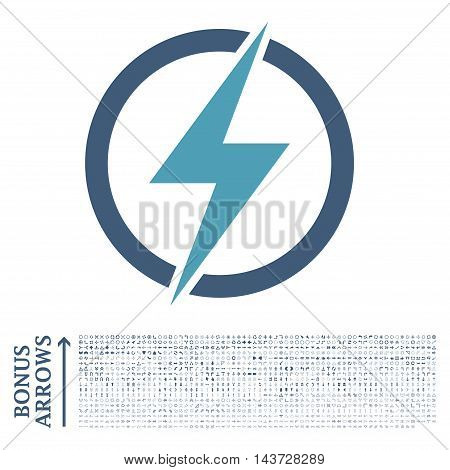 Electricity icon with 1200 bonus arrow and navigation pictograms. Vector illustration style is flat iconic bicolor symbols, cyan and blue colors, white background.