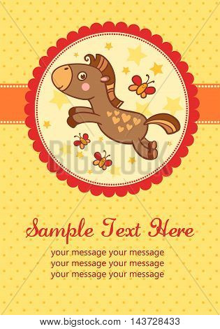 Vector illustration of a horse in a round frame. Perfect for invitations for birthdays and other holidays.
