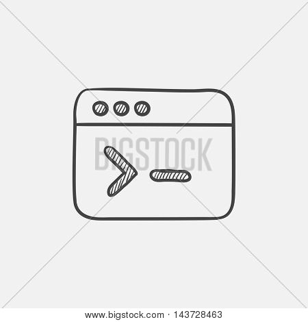 Browser window with command line sketch icon for web, mobile and infographics. Hand drawn vector isolated icon.