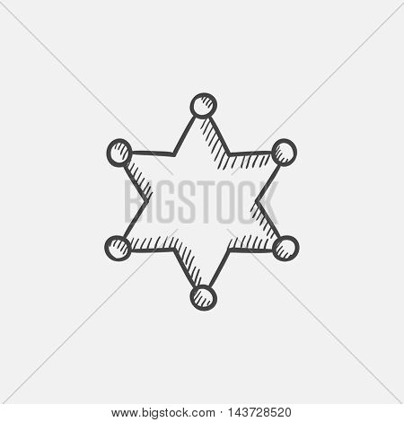 Police star sketch icon for web, mobile and infographics. Hand drawn vector isolated icon.