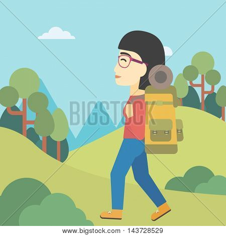 An asian woman hiking in mountains. Female traveler with backpack mountaineering. Hiking woman with backpack walking outdoor. Vector flat design illustration. Square layout.