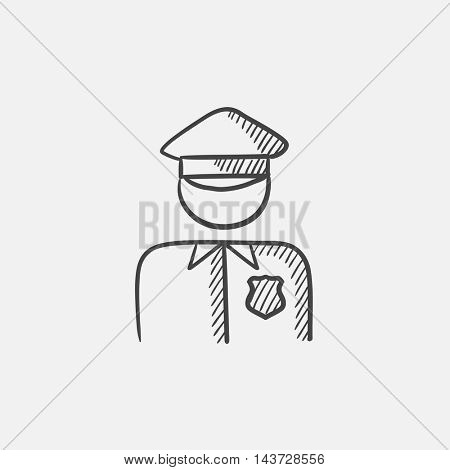 Policeman sketch icon for web, mobile and infographics. Hand drawn vector isolated icon.