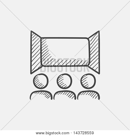 Viewers watching motion picture at movie theatre sketch icon for web, mobile and infographics. Hand drawn vector isolated icon.