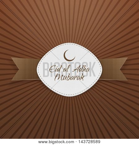 Eid al-Adha Mubarak Badge with Ribbon on striped Background