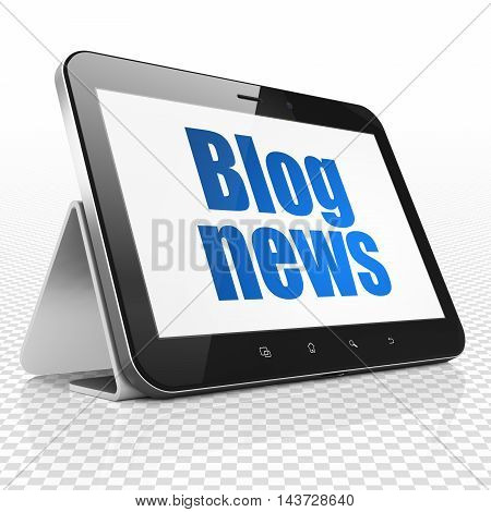 News concept: Tablet Computer with blue text Blog News on display, 3D rendering