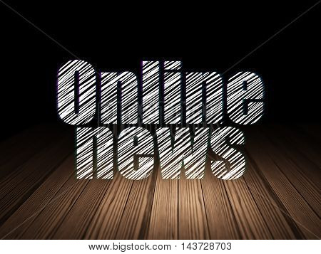 News concept: Glowing text Online News in grunge dark room with Wooden Floor, black background