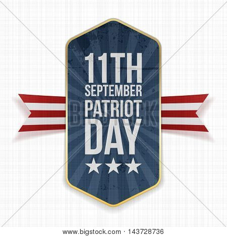 Eleventh September. Patriot Day Label with Ribbon