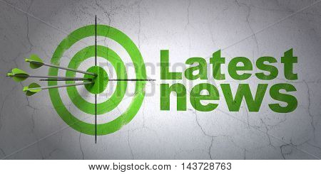 Success news concept: arrows hitting the center of target, Green Latest News on wall background, 3D rendering