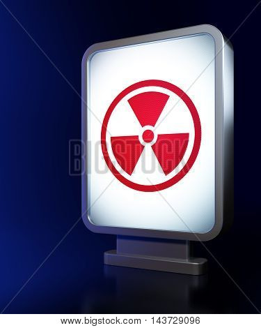 Science concept: Radiation on advertising billboard background, 3D rendering