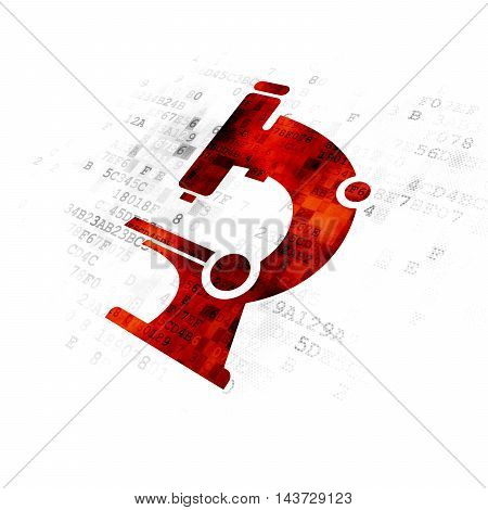 Science concept: Pixelated red Microscope icon on Digital background