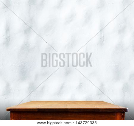 Wooden Tabletop At Ripple Concrete Wall,template Mock Up For Display Of Product,business Presentatio