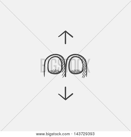 Two finger scroll sketch icon for web, mobile and infographics. Hand drawn vector isolated icon.