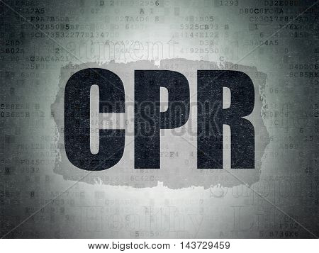 Medicine concept: Painted black text CPR on Digital Data Paper background with   Tag Cloud
