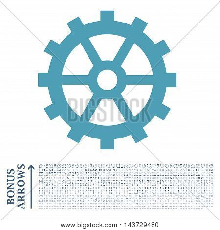 Gear icon with 1200 bonus arrow and direction pictograms. Vector illustration style is flat iconic bicolor symbols, cyan and blue colors, white background.