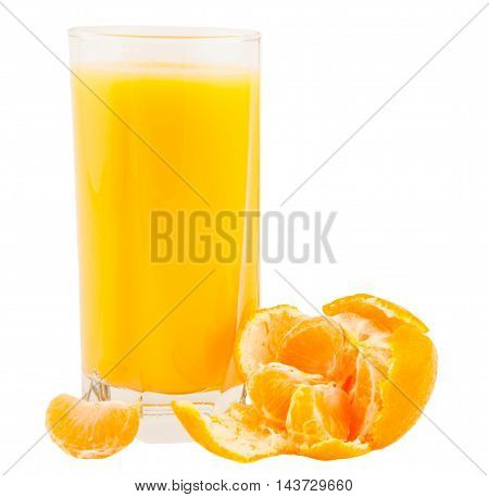 Glass of tangerine juice on a white background with purified mandarin in the foreground