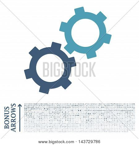 Gears icon with 1200 bonus arrow and navigation pictograms. Vector illustration style is flat iconic bicolor symbols, cyan and blue colors, white background.