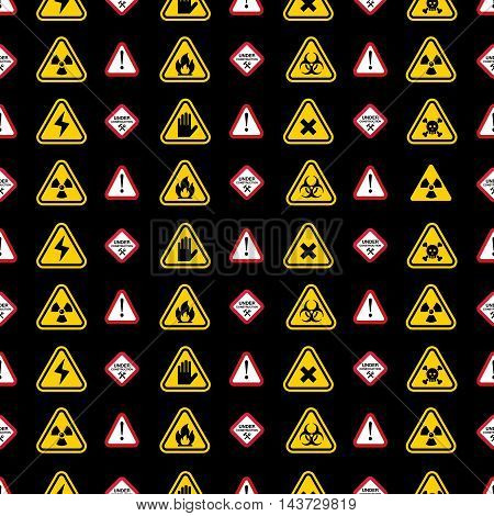 Warning vector signs pattern, yellow and red warning signs patterns on black