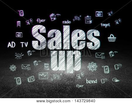 Marketing concept: Glowing text Sales Up,  Hand Drawn Marketing Icons in grunge dark room with Dirty Floor, black background