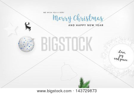 Merry Christmas And Happy New Year Card With Christmas Elements