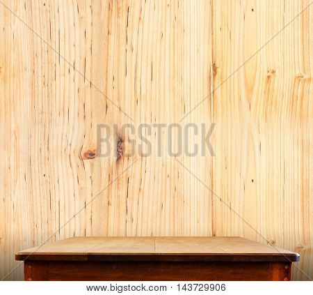 Wooden Tabletop At Wood Wall,template Mock Up For Display Of Product,business Presentation
