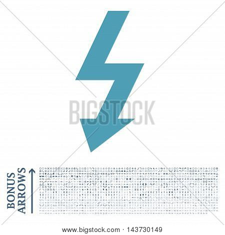 High Voltage icon with 1200 bonus arrow and navigation pictograms. Vector illustration style is flat iconic bicolor symbols, cyan and blue colors, white background.