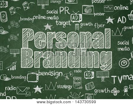 Marketing concept: Chalk White text Personal Branding on School board background with  Hand Drawn Marketing Icons, School Board