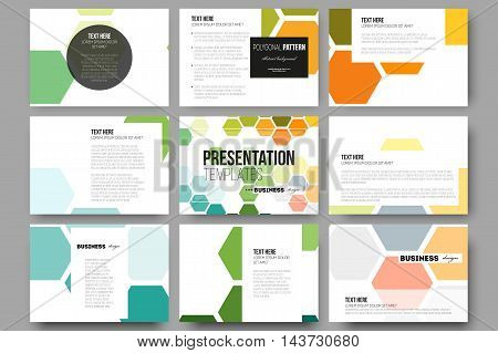 Set of 9 vector templates for presentation slides. Abstract colorful business background, modern stylish hexagonal vector texture.