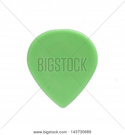 Guitar pick green isolated on white background